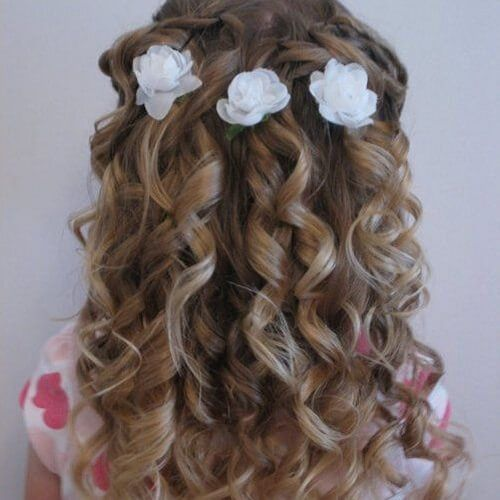 First Holy Communion Hairstyles Curly Hair Hair Styles Flower Girl Hairstyles Kids Hairstyles