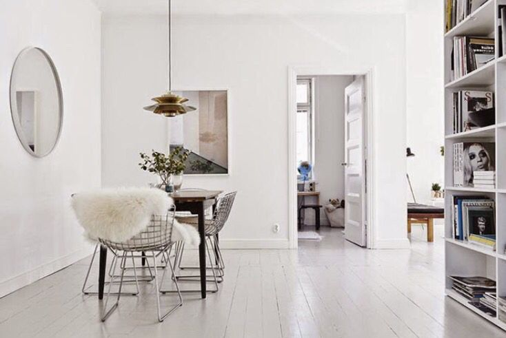 White Floors Minimal Apartment Decor