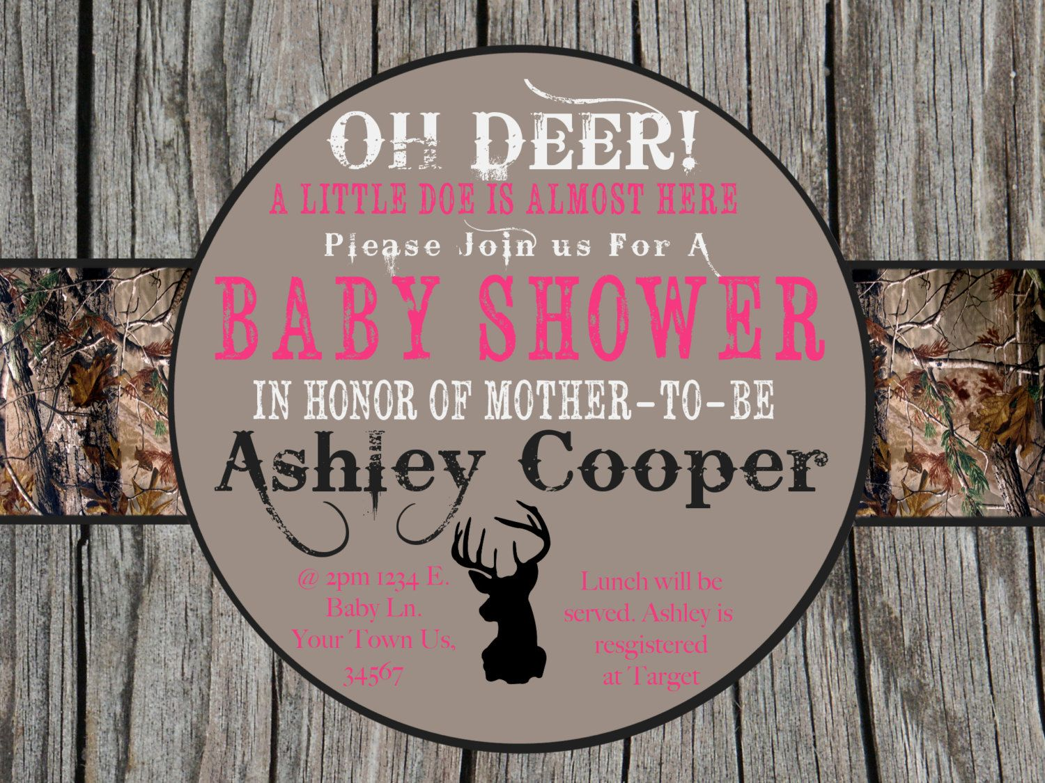 Get Pink Camo Baby Shower Invitations
