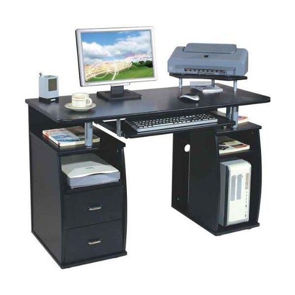 Piranha Large Black Computer Desk With 2 Drawers And 4 Shelves For The