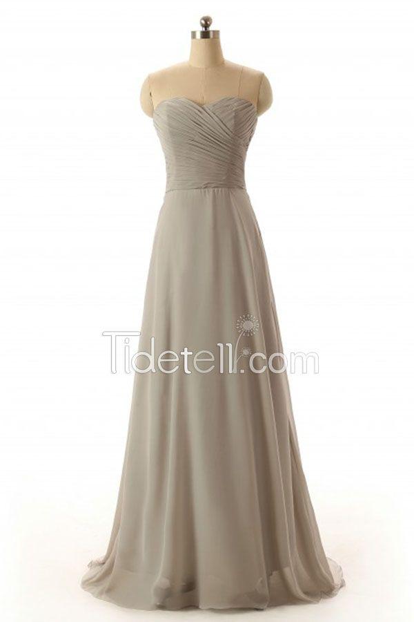 Elegant Grey Sweetheart Strapless Chiffon A-line Long Bridesmaid ...