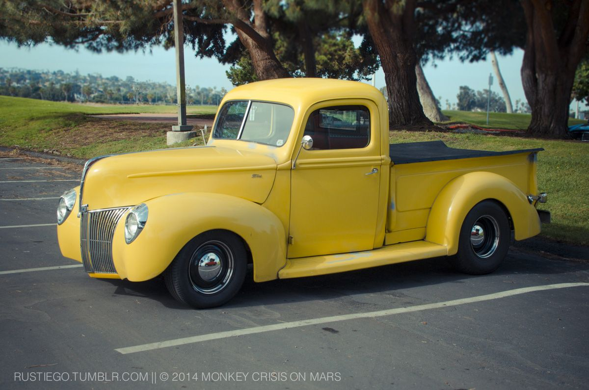 Yellow 1941 Ford Pickup Truck At Marina Village Hotrod Classic Car