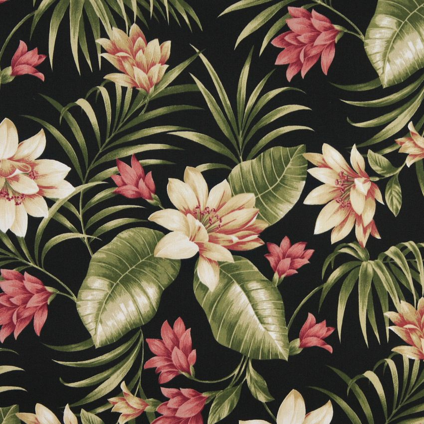 Beige Pink And Black Hawaii Large Tropical Flower Upholstery Fabric