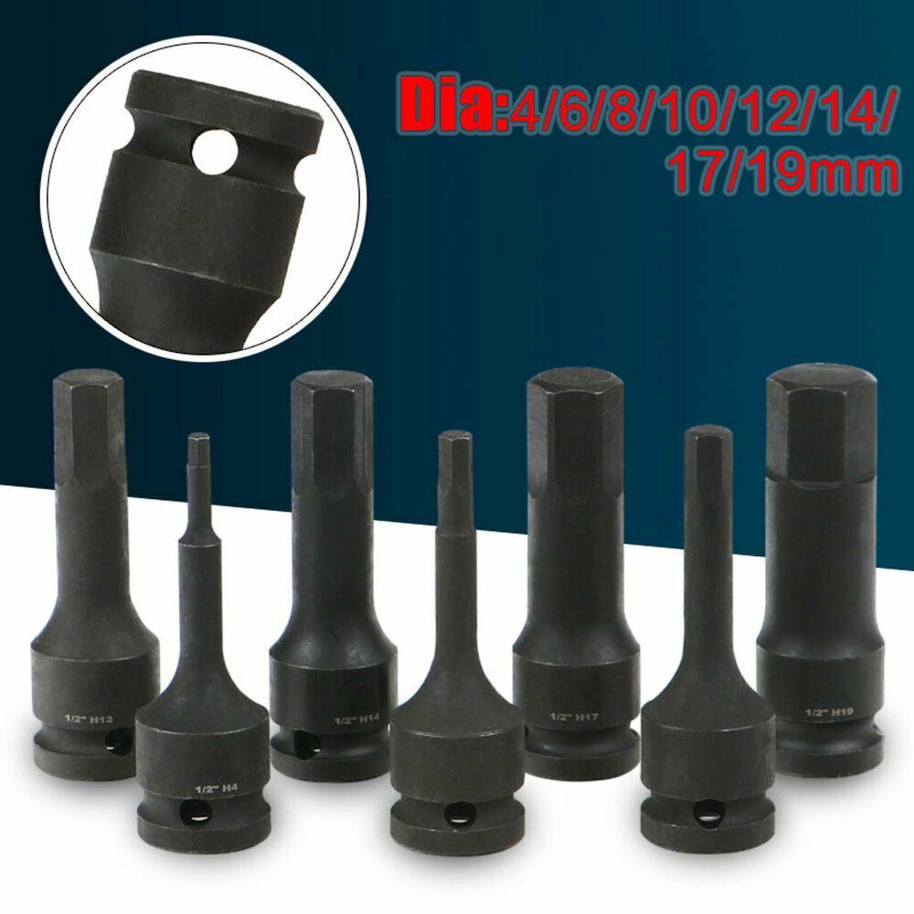 1 2 Drive Impact Heavy Duty Hex Bit Socket 17 42mm Deep For Nut Bolt Allen Key Nut Bolt Heavy Duty Bolt