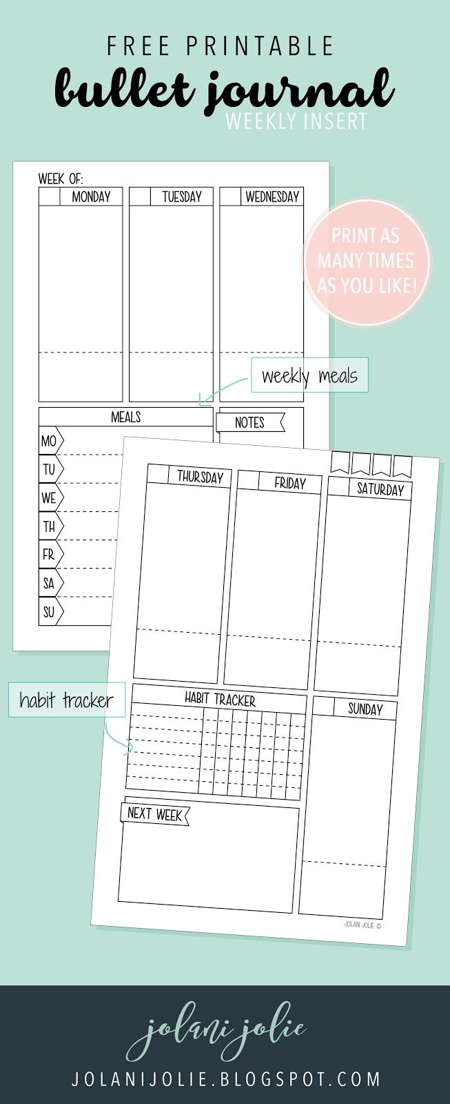 Free Printable: Bullet Journal on Two Pages - Jolani Jolie