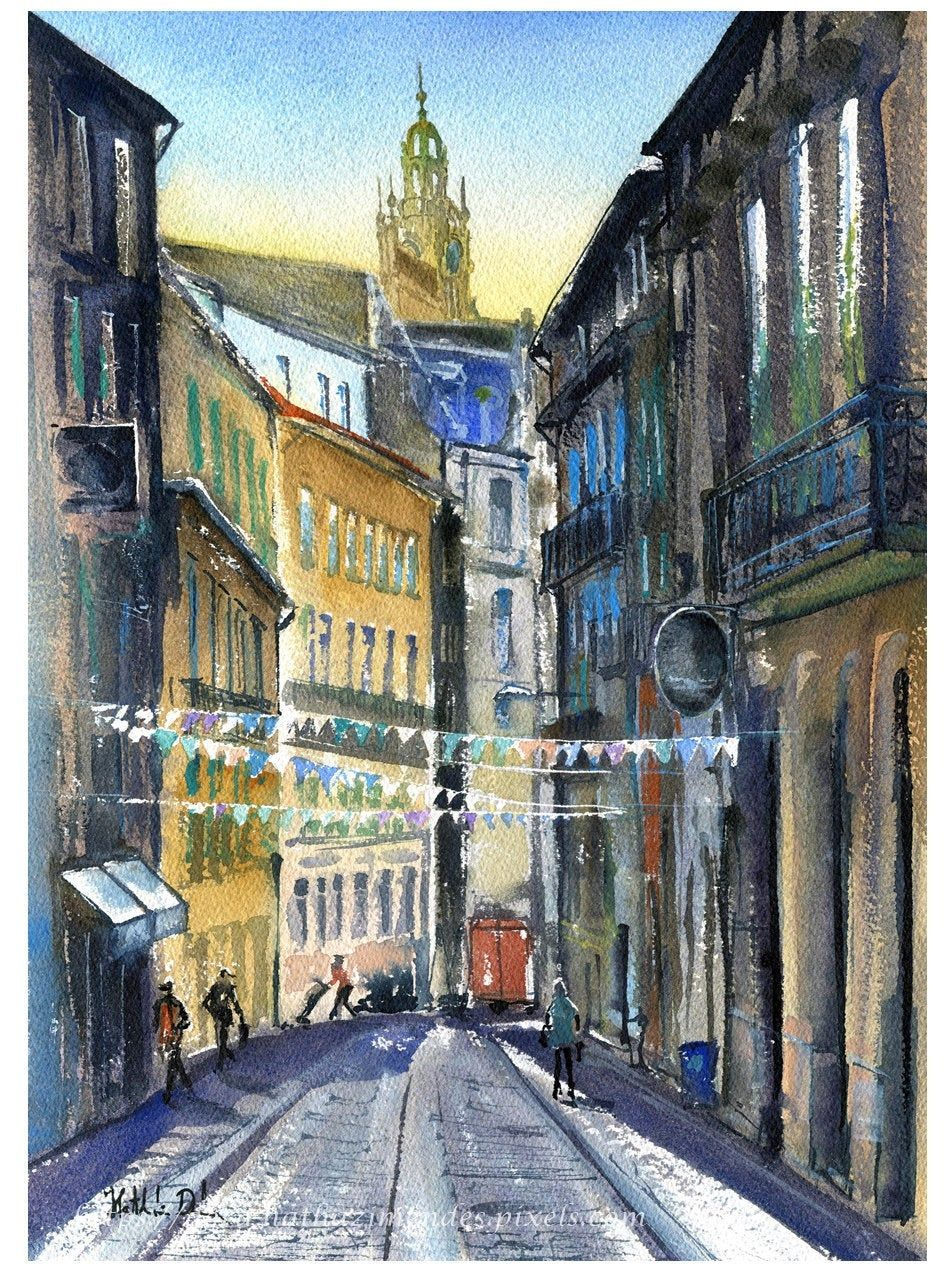 Original Porto Painting Handmade Watercolor Streets Of Etsy Original Watercolor Painting Online Art Gallery Gallery Print