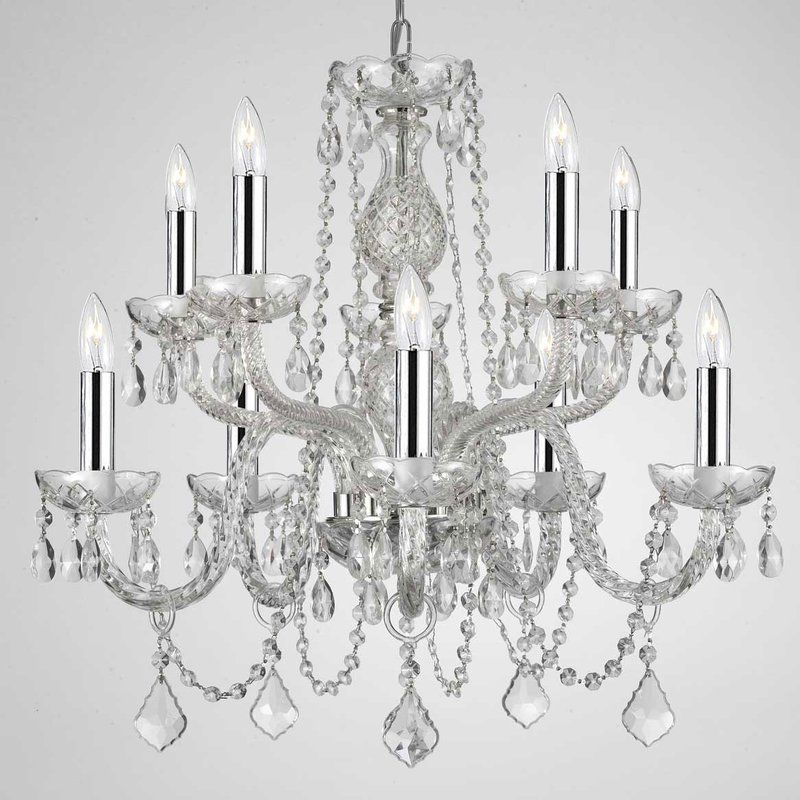 Kennon 10 Light Candle Style Tiered Chandelier Plug In Chandelier Crystal Chandelier Chandelier Lighting