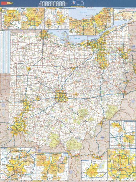 ohio wall map executive commercial edition swiftmaps com on laminated wall maps id=34237