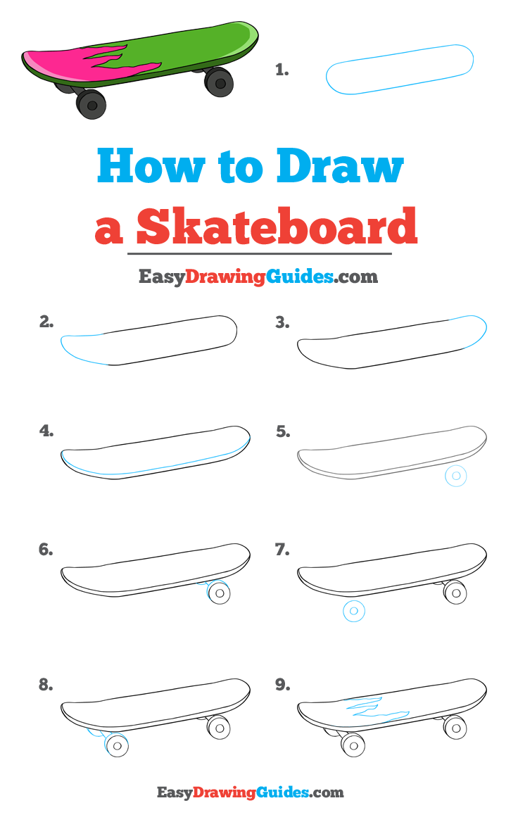 How To Draw A Skateboard Really Easy Drawing Tutorial Easy Drawings Drawing Tutorial Easy Easy Drawings For Kids