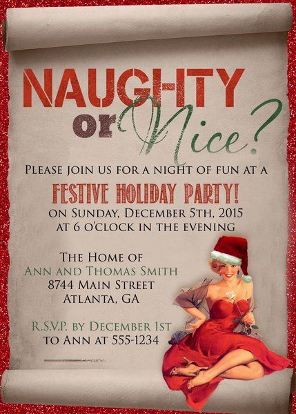Naughty Or Nice Christmas Party Invitation Christmas Party 2016