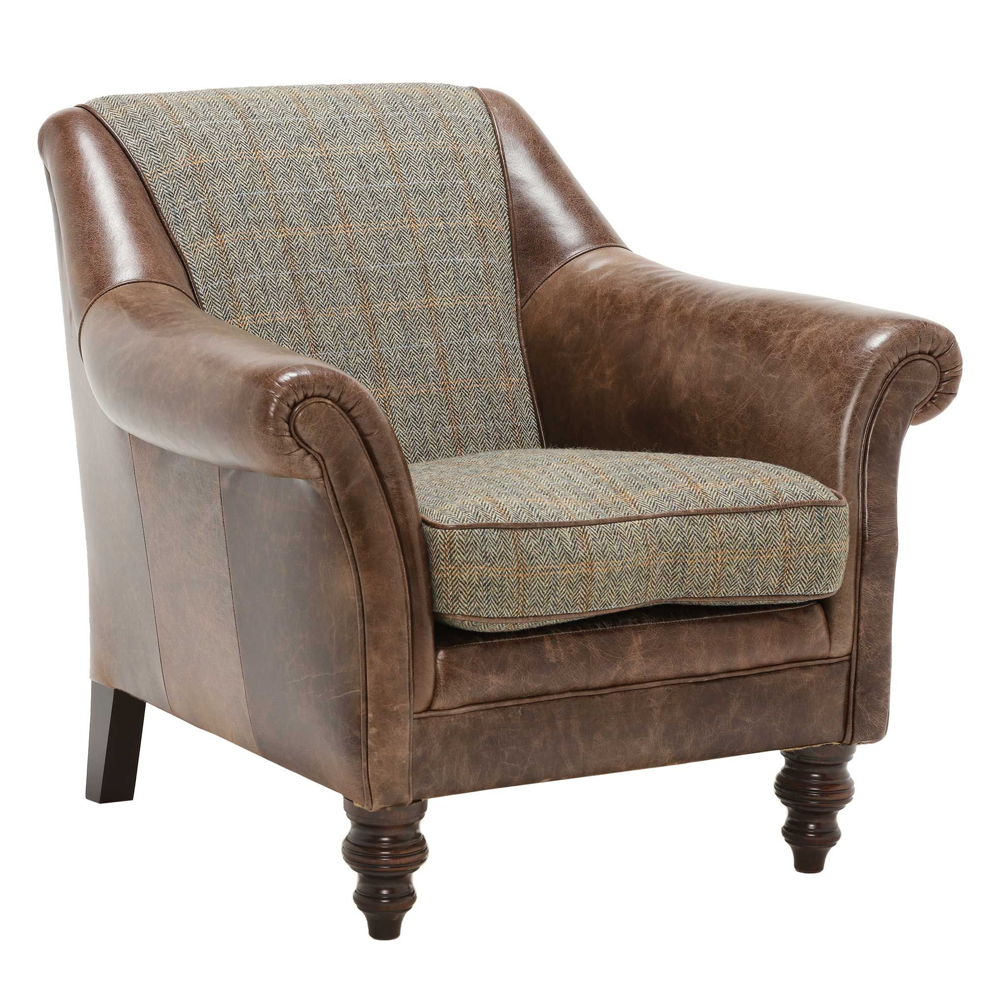 Harris Tweed Dalmore, Leather Accent Chair Barker