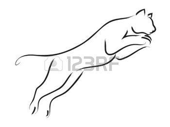 Panther Art Simple Ligne D Un Puma De Saut D Obstacles Ideya