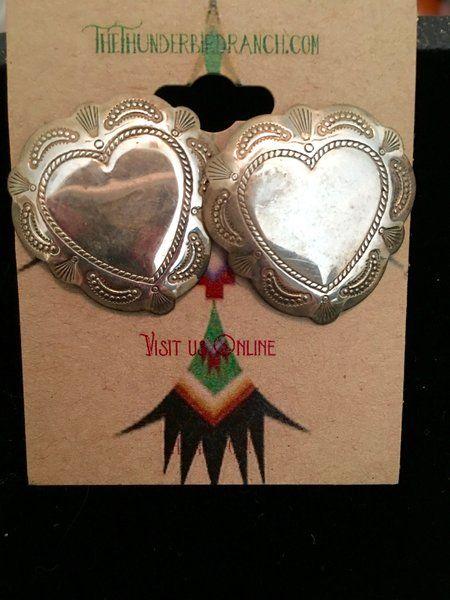 Vintage Heart Concho Style Sterling Earrings