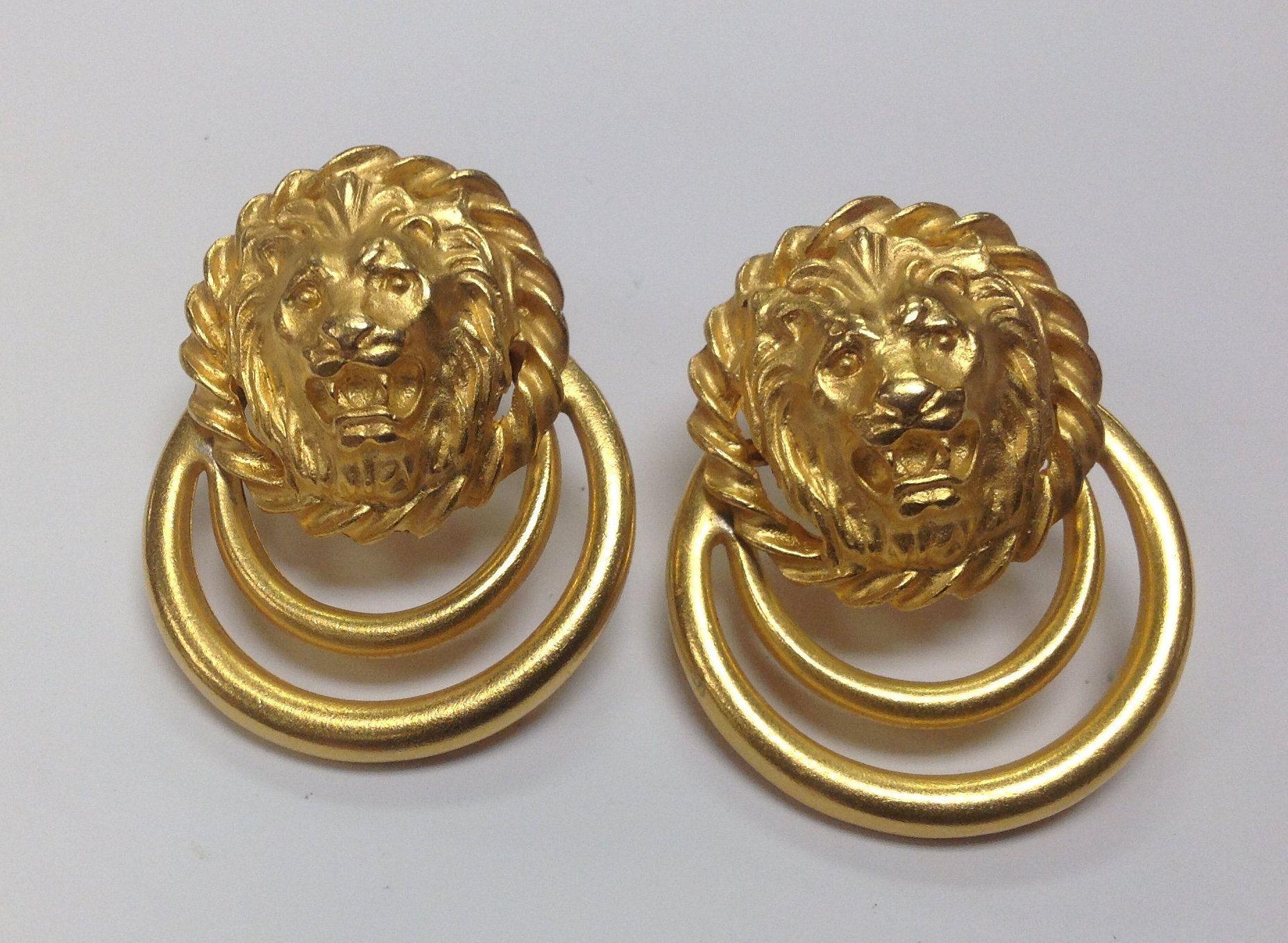 Vintage unsigned lion head statement door knocker screw back