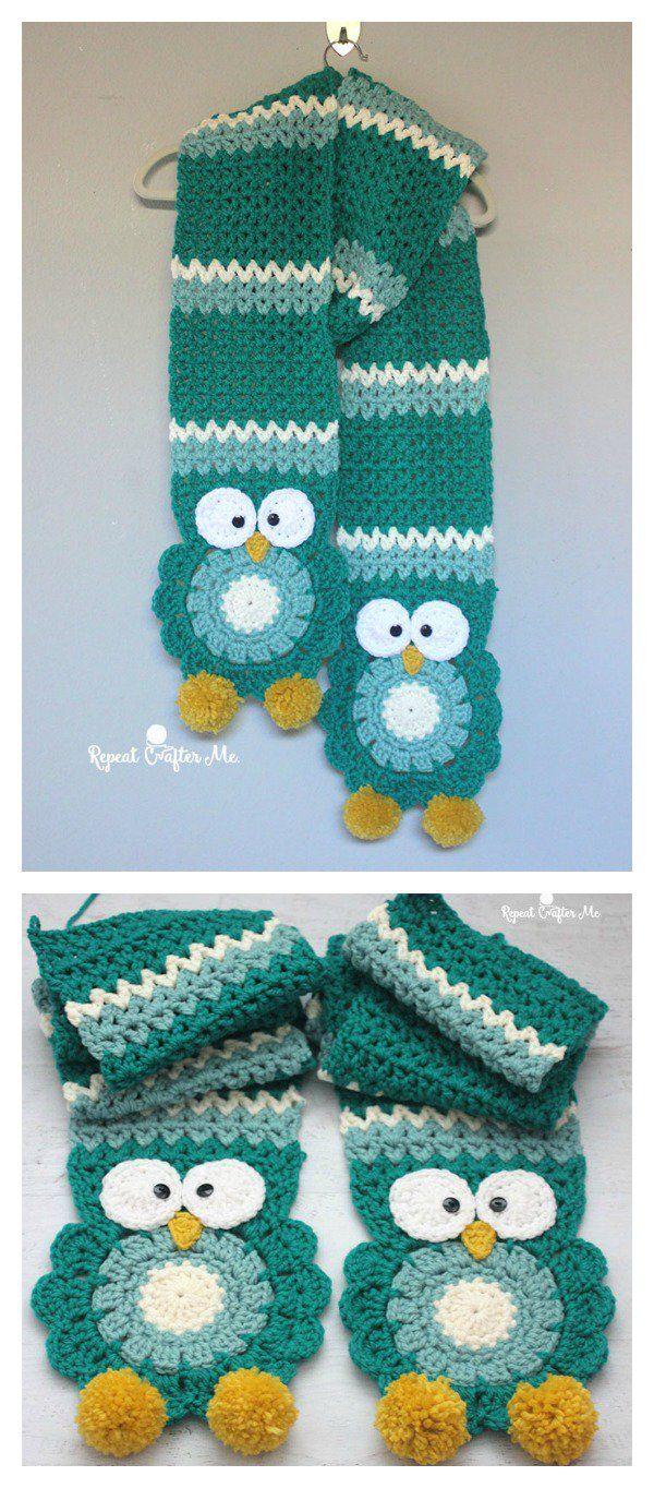 Owl Scarf: FREE Crochet Pattern | GORROS,SOMBREROS,BUFANDAS,GUANTES ...