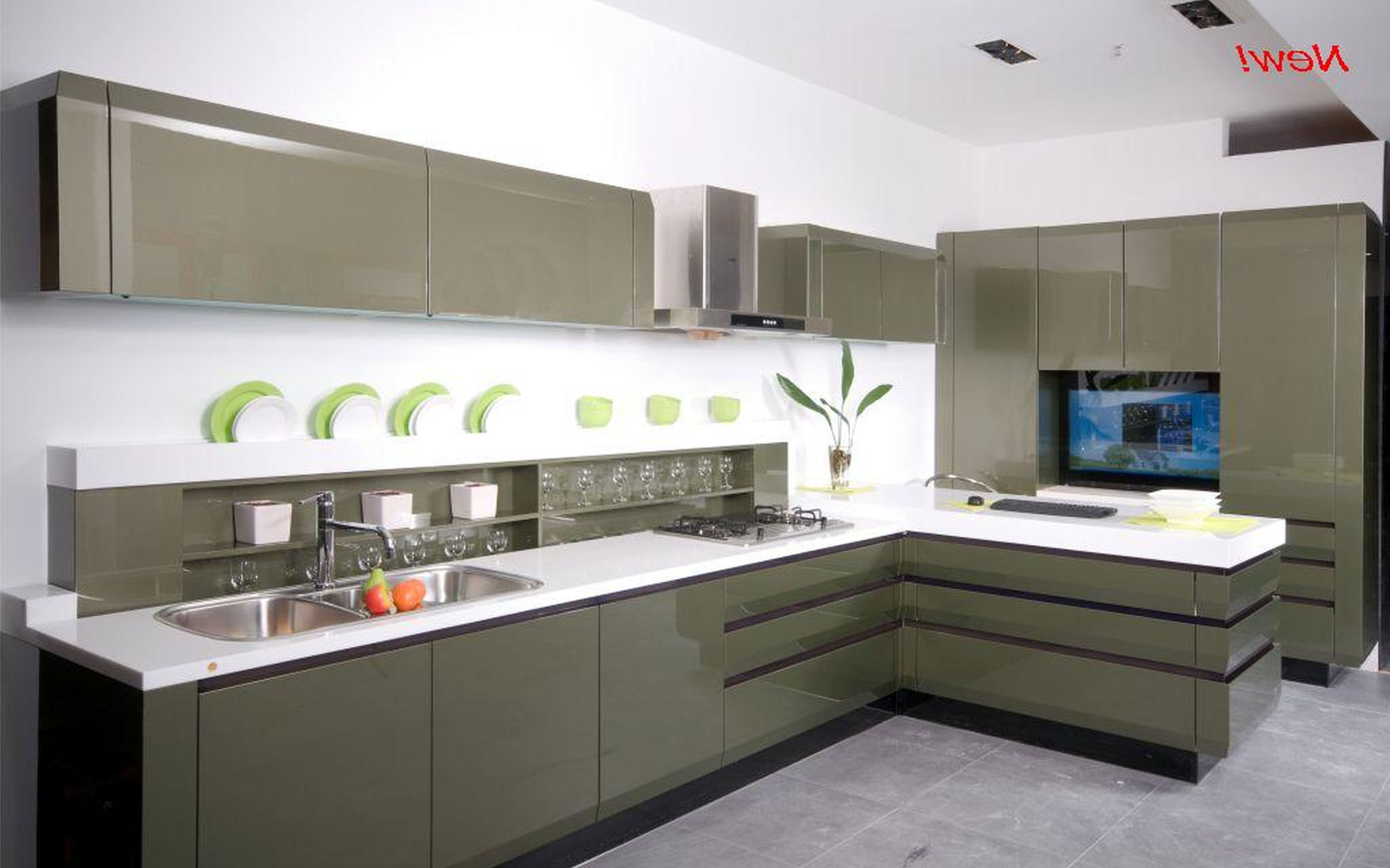 trendy and sleek kitchen with laminate island and pullout from Sleek ...