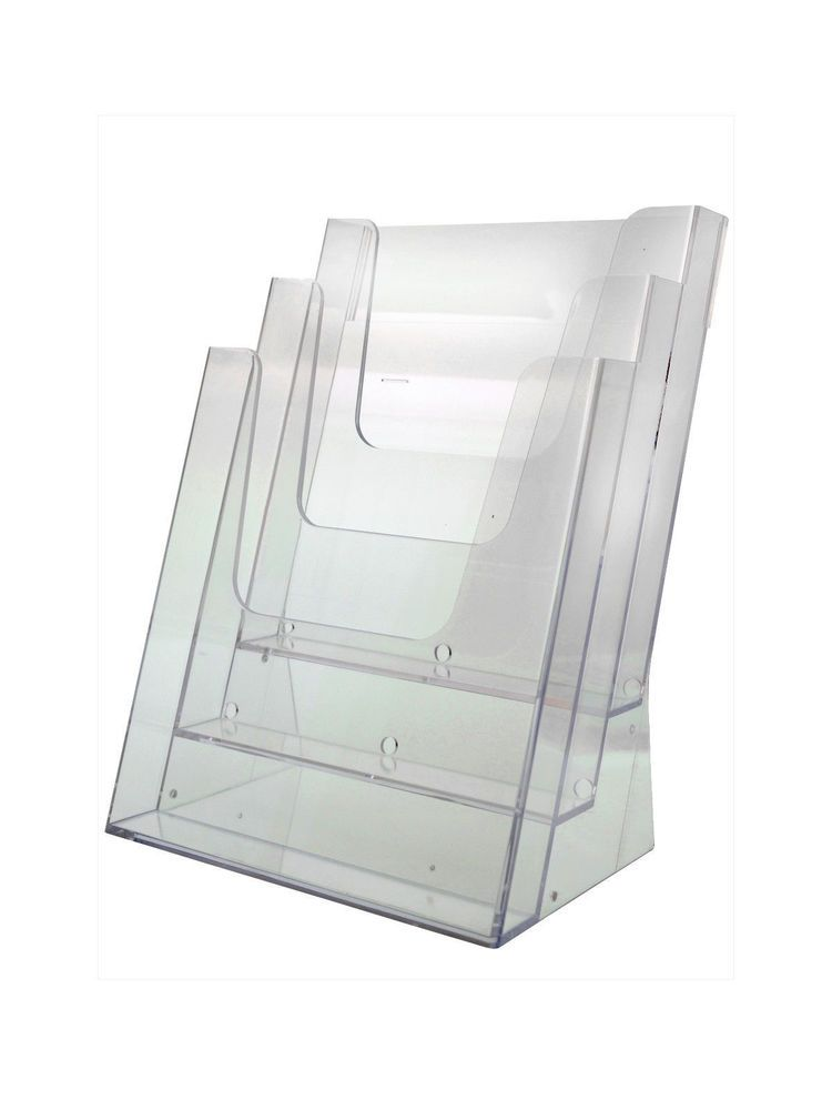 Document Holder 3 Tier Desk Top Clear Acrylic Office Literature Holder Clear Acrylic Gift Card Displays Holder
