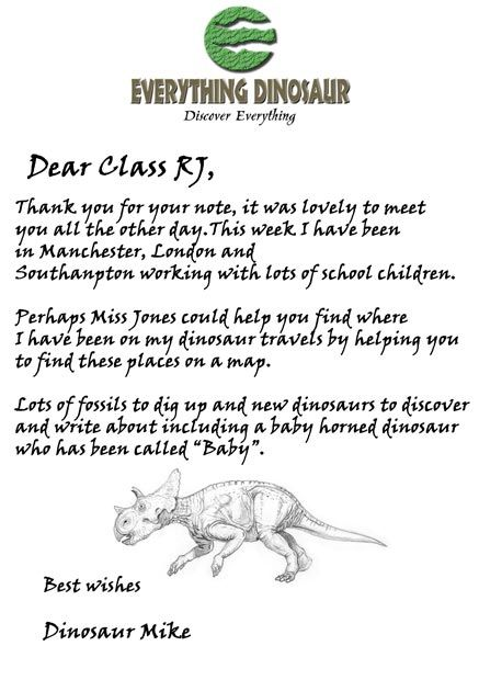 everything dinosaur sends a note to reception class children in response to a thank you note sent into them by the class teacher