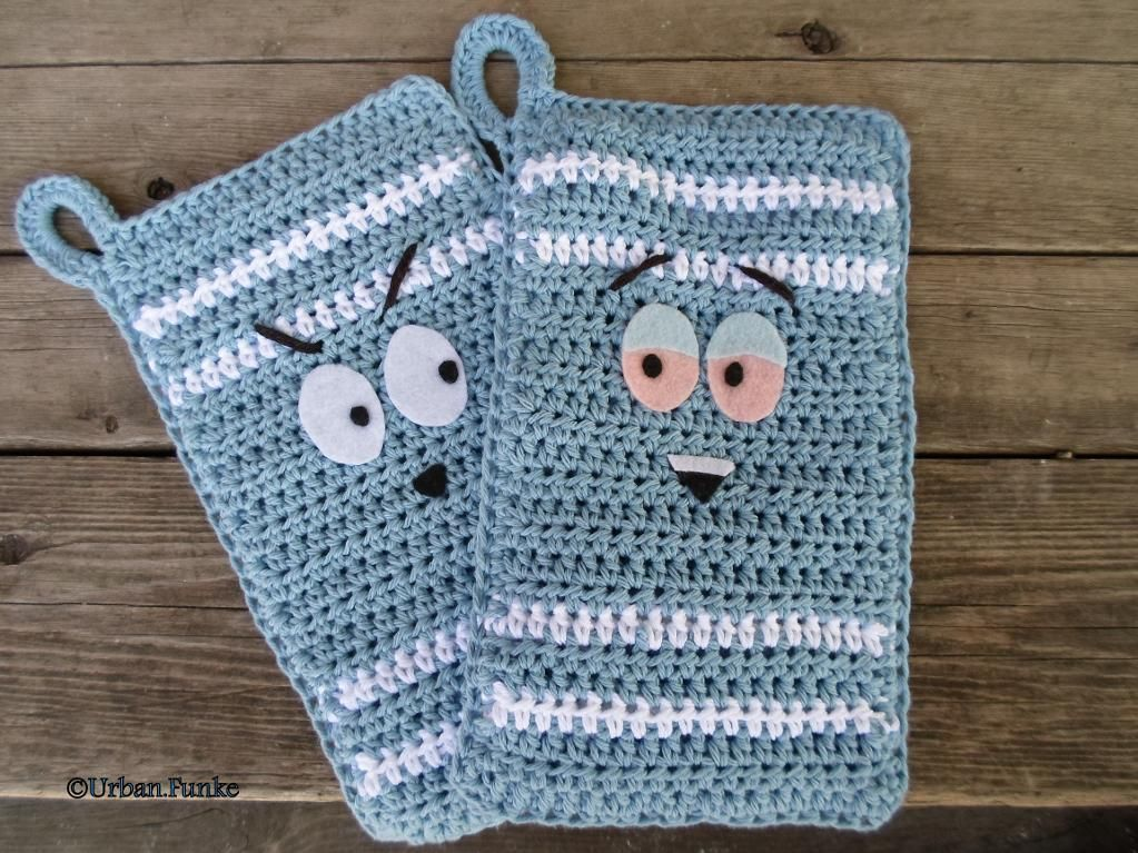 Stitch Of Love Free Pattern Crochet Catherine Wheel Tissue Box Cover : Towelie Inspired Pot Holders Crochet Home, Blue and Home ...