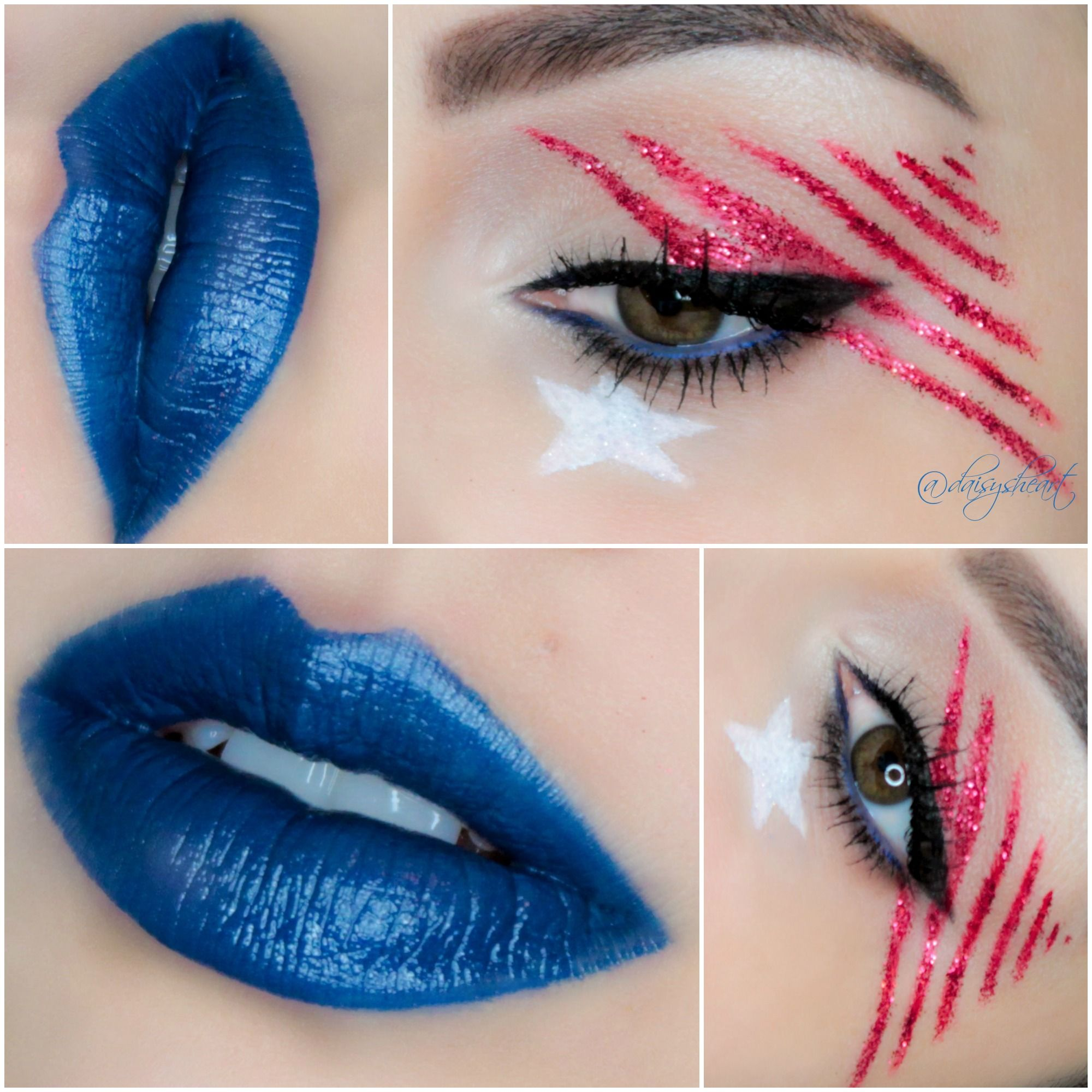 Fourth of July makeup stars and stripes. INSTAGRAM https