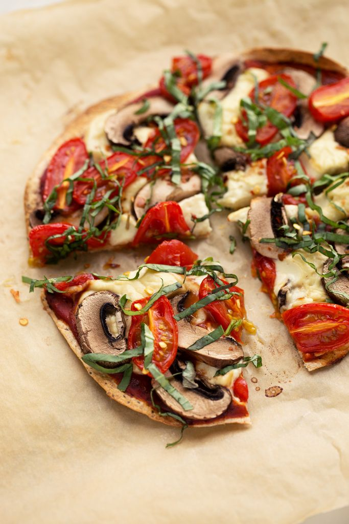 Personal Tortilla Pizza With Homemade Mozzarella Mushrooms Tomatoes Basil Vegan Recipe Weight Watcher Pizza Recipe Tortilla Pizza Healthy Pizza Recipes