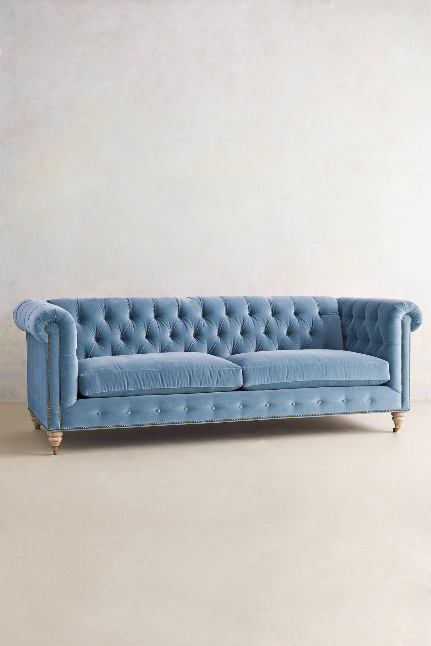 Pale Blue Velvet Sofa Living Room Sofa Chesterfield Sofa Furniture