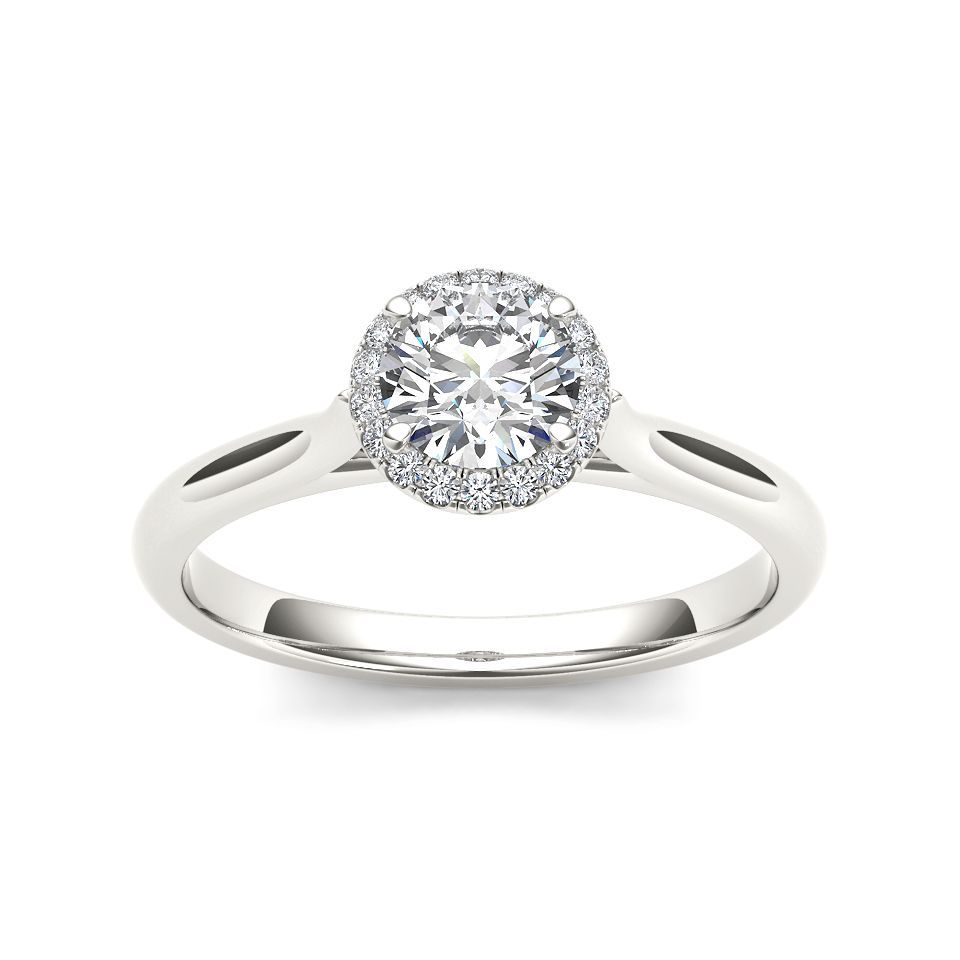 De Couer 14k White Gold 1/2ct TDW Diamond Halo Engagement Ring (H-I, I2) (Size-9), Women's, Size: 9, White H-I