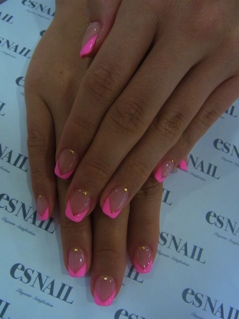 Neon Pink French Nails I Am Doing This For Sure Pink French Nails Trendy Nails French Tip Nails