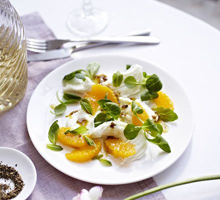 Team creamy Italian cheese and fruity citrus with coriander seeds and mint for this quick dinner party starter