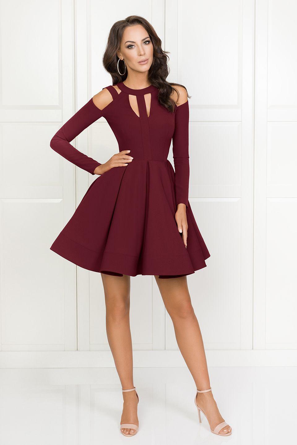 c5110292f8 ZAIRA Bordowa sukienka z koła