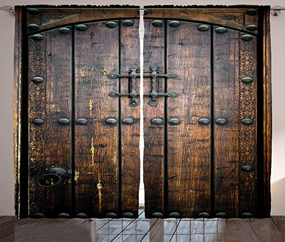 Amazon Com Ambesonne Rustic Decor Collection Ancient Wooden Door Historical Vintage Exterior Medieval Structure Artisti In 2020 Wooden Doors Rustic Curtains Medieval