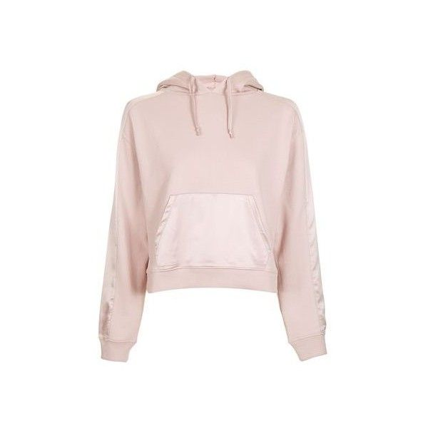 TopShop Satin Hoodie (670 MXN) ❤ liked on Polyvore featuring tops ...