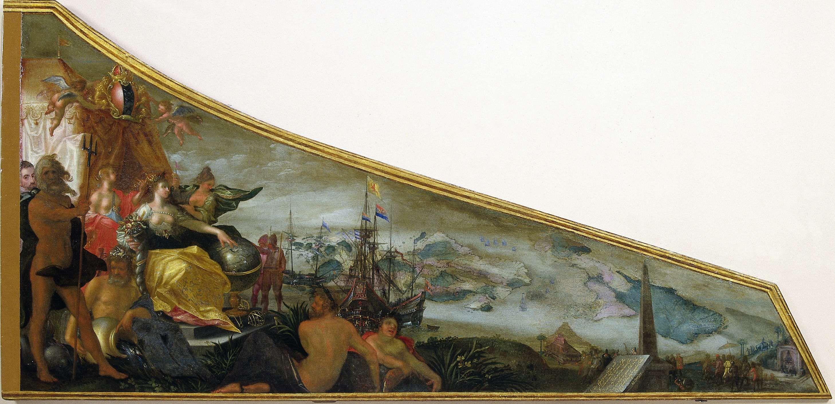 Harpsichord Lid showing an Allegory of Amsterdam as the Center of World TradeAllegorische voorstelling van Amsterdam als centrum van de wereldhandel, Pieter Isaacsz., Firma Ruckers, c. 1604 - c. 1607