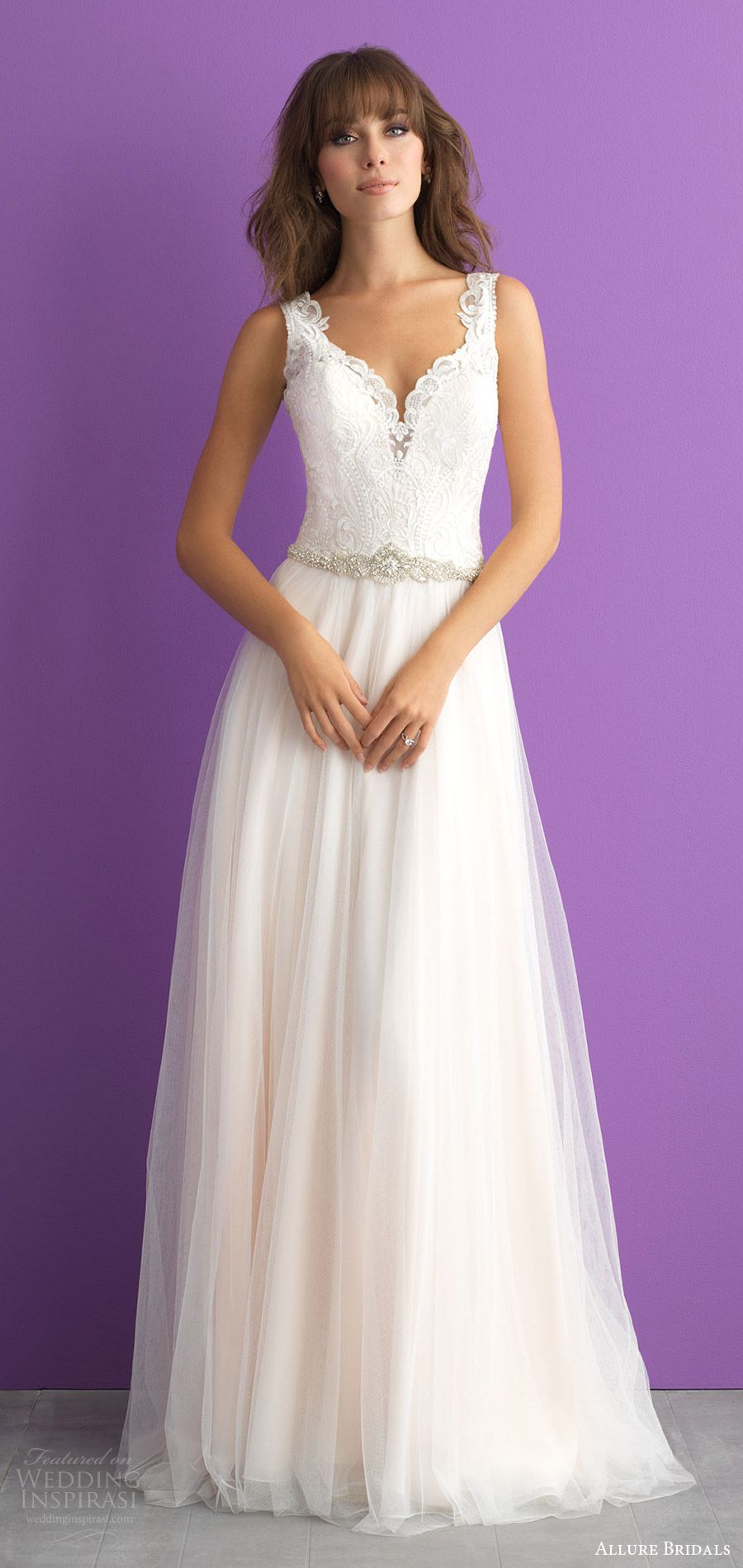 allure bridals spring 2017 (3014) sleeveless sweetheart lace bodice thick straps a line wedding dress mv