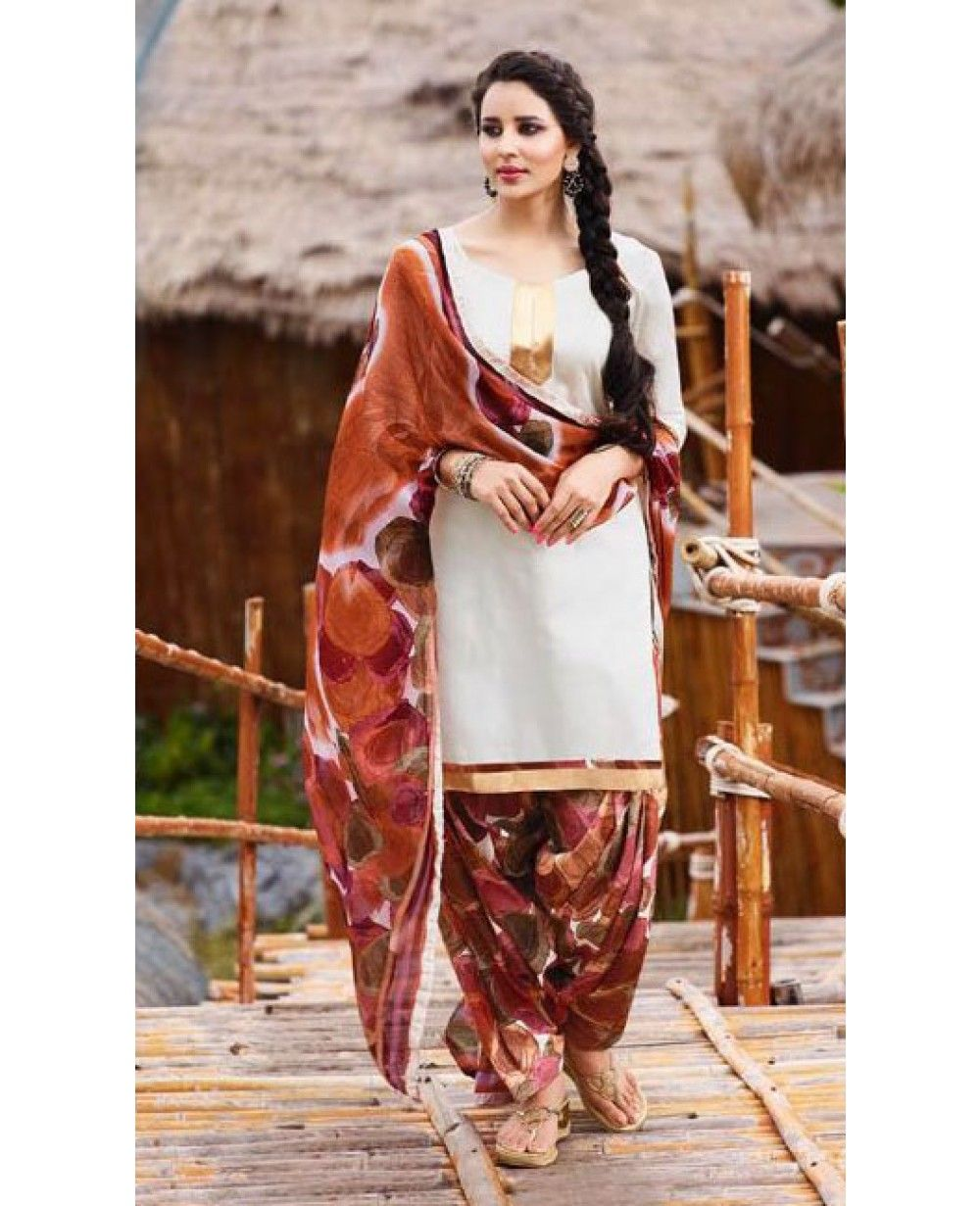 98e49b4fed Look every bit like a Punjabi kudi in this Glace Cotton patiala style  salwar suit. Match the dress with bangles and matching drop earrings to  compliment ...