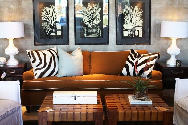 Elegant Silver Gray Wallpaper Room Rust Brown Sofa White Piping Zebra Brown Living  Room Decor, Part 23
