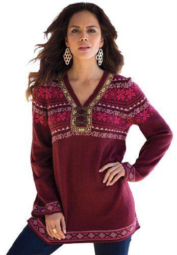 Denim 24/7 Women's Plus Size Fairisle Tunic Sweater for only ...