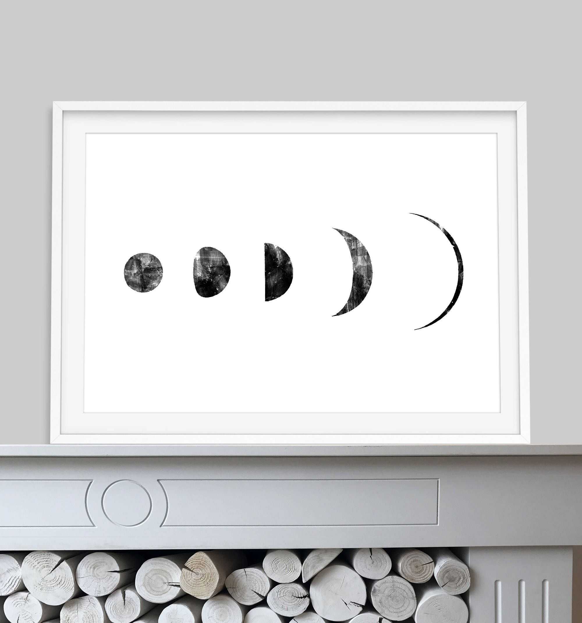 Moon Phase Print, Printable Art 24X36 Painting, Lunar Moon Phases,