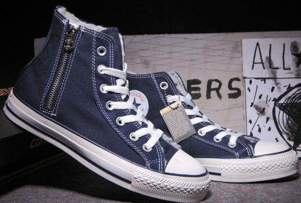 ce2eac53993fed  converse Classic Converse Zipper All Star Chuck Taylor Soft Nap Inside  Velvet Blue High Tops Canvas Winter Boots