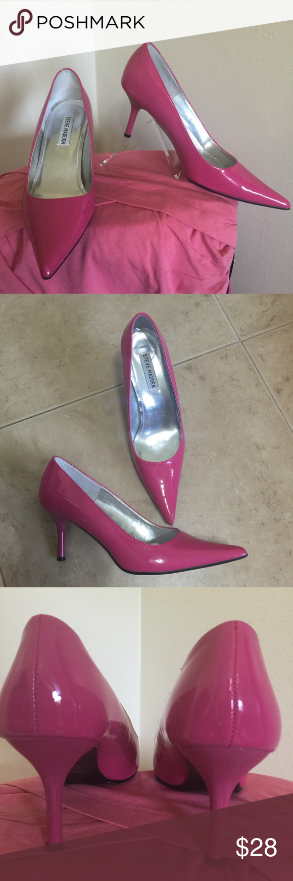 "Steve Madden Hot Pink Patent Pointy Pump 7 Classie Label- Steve Madden Style- ""Classie"" Classic pointy toe Pumps. They are Bright Hot Barbie Pink patent leather. Super Sexy!   Size- 7 Heel Height- 3.25 ( walkable!) Color-Hot Pink  Fabric- Manmade Patent Leather Condition-Worn once, Excellent Used Condition EUC , footbed, heels and heel tips are perfect, small rub spot on outside toe, shown in pics, not noticeable while worn but priced accordingly  Origin-China Steve Madden Shoes Heels"