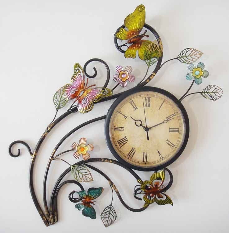 Metal Wall Art - Butterfly Wall Clock | Artwork .. and every other ...