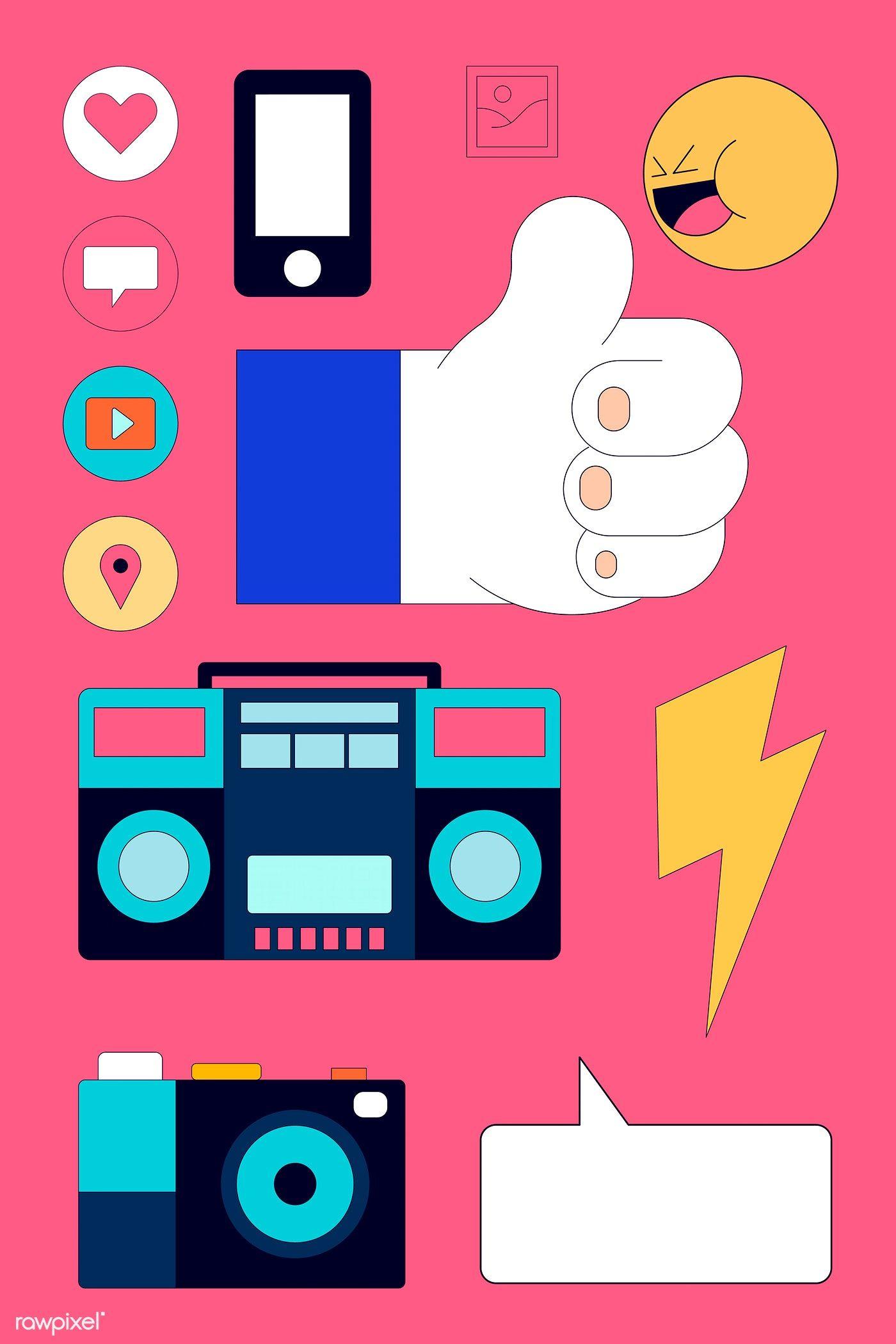 Download premium illustration of Social media icon set
