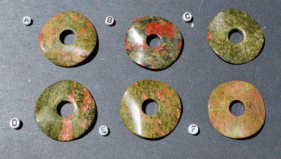 40mm Unakite Waved Stone Donut