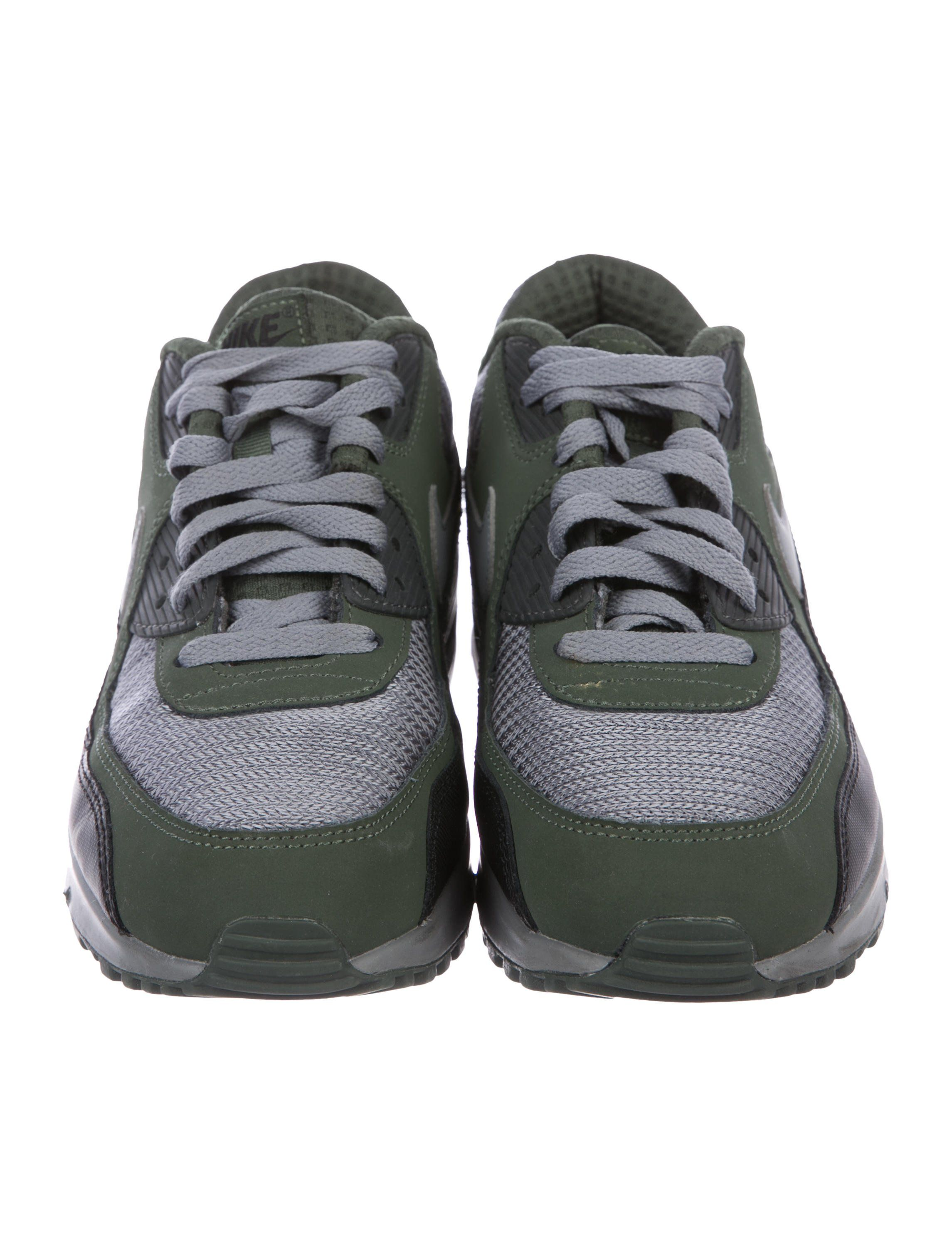 finest selection ebeb5 dac89 Men s olive green nubuck, charcoal mesh and black leather Nike Air Max 90  Essential round-toe low-top sneakers with logo at tongu