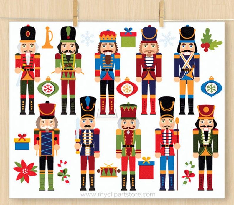 Royal Nutcrackers Clipart Christmas poinsettia decorations | Etsy