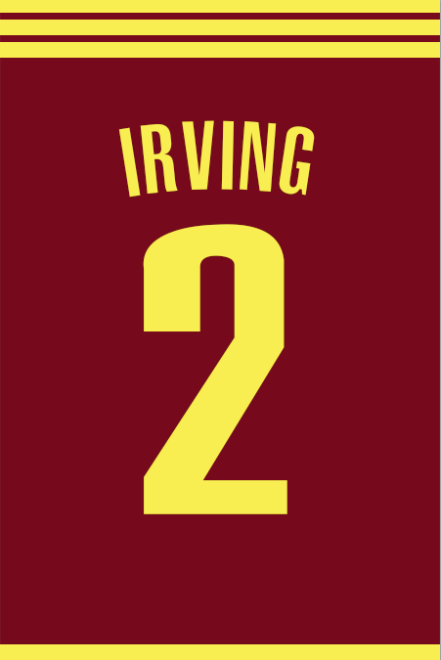 brand new 85d44 c4292 Kyrie Irving Number 2 Cleveland Cavaliers Jersey Art Print ...