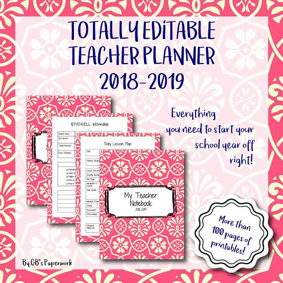 image regarding Teacher Binder Printables referred to as Totally Editable Printable 2018-2019 Instructor Binder (preppy