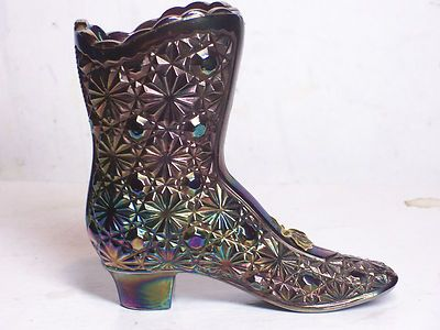 Fenton boot heel green hobnail painted signed carnival glass