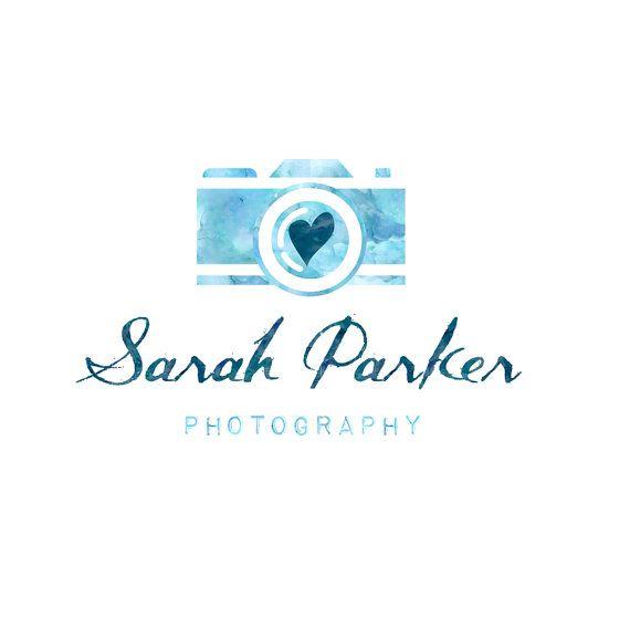 Watercolor photography logo, blue shades, blog header