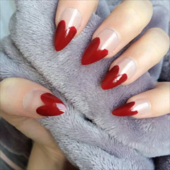 Doobys Stiletto Nails Deep Red Heart Tips 24 Hand Painted